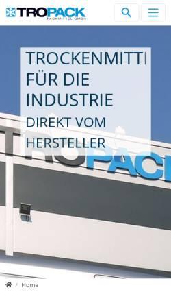 Vorschau der mobilen Webseite www.tropack.de, Tropack Packmittel GmbH