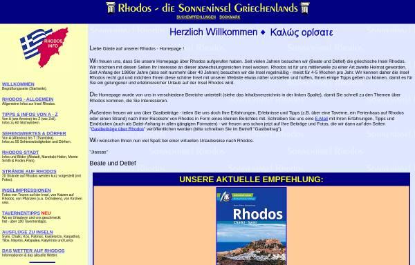 Vorschau von www.rhodos-info.de, Rhodos - Sonneninsel der Ägäis [Detlef Dittmer]