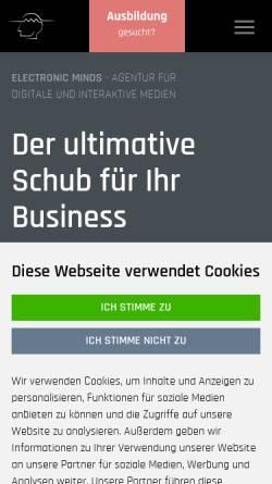Vorschau der mobilen Webseite www.electronic-minds.de, Electronic Minds GmbH