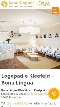 Vorschau der mobilen Webseite hannover-logopaedie.de, Bona Lingua - Raphaela Steinbrügge
