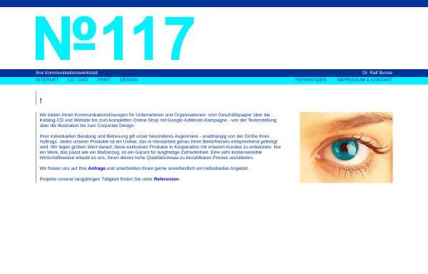 Vorschau von www.no117.de, No.117 - Kommunikationswerkstatt Dr. Ralf Bunse