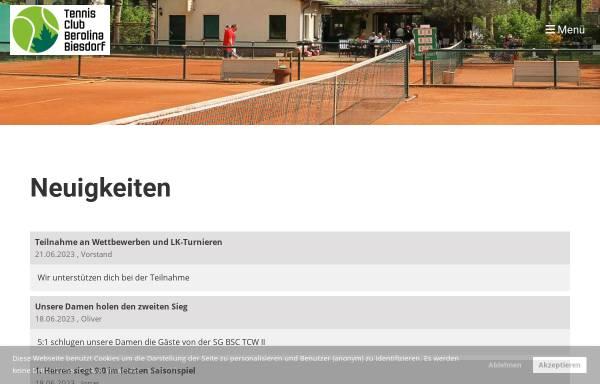 Vorschau von tc-berolina-biesdorf.de, TC Berolina Biesdorf e.V.