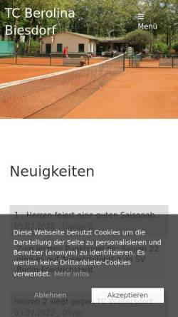 Vorschau der mobilen Webseite tc-berolina-biesdorf.de, TC Berolina Biesdorf e.V.
