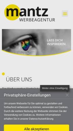 Vorschau der mobilen Webseite www.mantz-werbeagentur.de, Mantz Werbeagentur