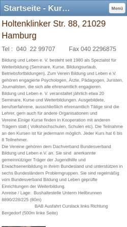 Vorschau der mobilen Webseite bildungundleben.jimdo.com, Bildung und Leben Hamburg e.V.