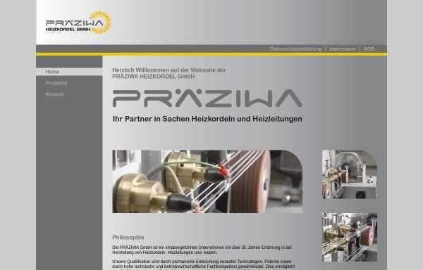 Vorschau von www.praeziwa.de, Präziwa Heizkordel GmbH