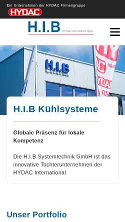 Vorschau der mobilen Webseite www.h-i-b.de, H.I.B Industriekühlung, Inh. Artur Kraus