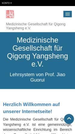 Vorschau der mobilen Webseite qigong-yangsheng.de, Medizinische Gesellschaft für Qigong Yangsheng e. V.