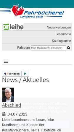 Vorschau der mobilen Webseite www.kreisfahrbuecherei-celle.de, Fahrbücherei Landkreis Celle