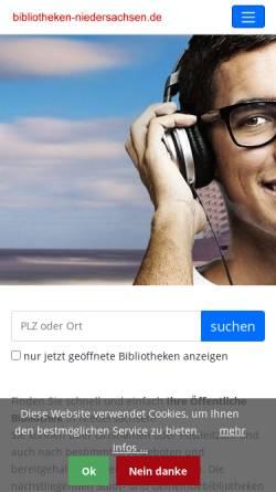 Vorschau der mobilen Webseite www.bibliotheken-niedersachsen.de, Öffentliche Bibliotheken in Niedersachsen