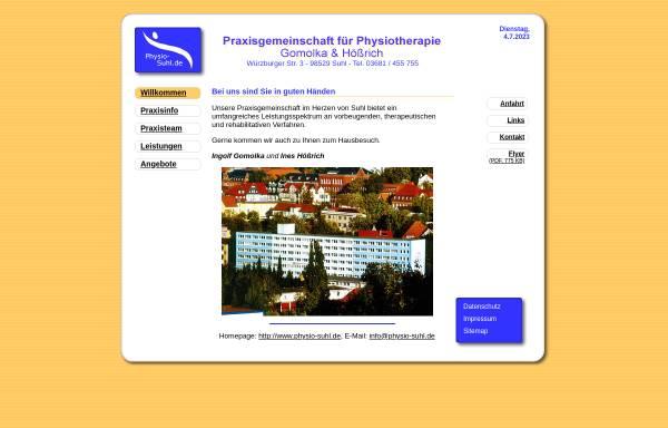 Vorschau von www.physio-suhl.de, Gemeinschaftspraxis für Physiotherapie GbR Gomolka / Hößrich