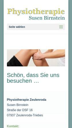 Vorschau der mobilen Webseite www.susen-birnstein-physiotherapie.de, Physiotherapie Susen Birnstein