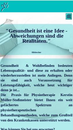 Vorschau der mobilen Webseite www.physiotherapie-plus.de, Praxis für Physiotherapie Kerstin Müller