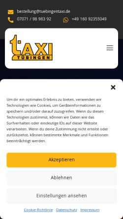 Vorschau der mobilen Webseite www.tuebingentaxi.de, TuebingenTaxi.de