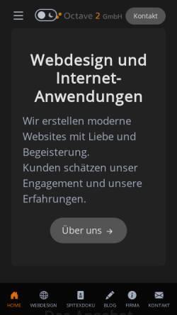 Vorschau der mobilen Webseite www.octave2media.ch, Octave 2