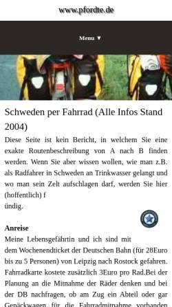 Vorschau der mobilen Webseite www.pfordte.de, Südschweden per Rad [Michael Pfordte]