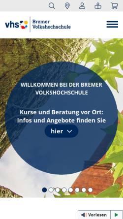 Vorschau der mobilen Webseite www.vhs-bremen.de, Bremer Volkshochschule