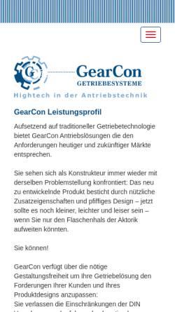 Vorschau der mobilen Webseite www.gearconweb.com, GearCon GmbH