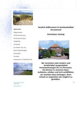 Vorschau der mobilen Webseite www.ferienhaus-hannig.de, Ferienhaus Hannig