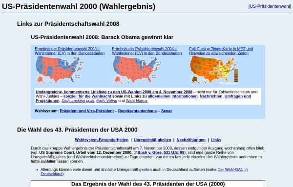 Vorschau von www.wahlrecht.de, Die Wahl zum 43. US Präsidenten
