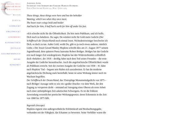 Vorschau von www.zikaden.de, Ingestalt und Inkraft bei Gerard Manley Hopkins