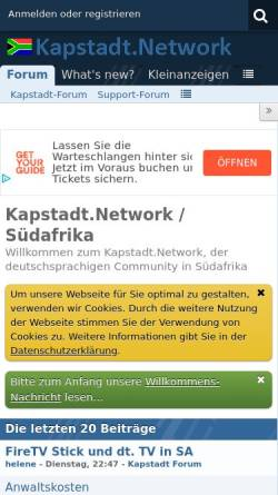 Vorschau der mobilen Webseite www.kapstadt.net, Kapstadt Portal