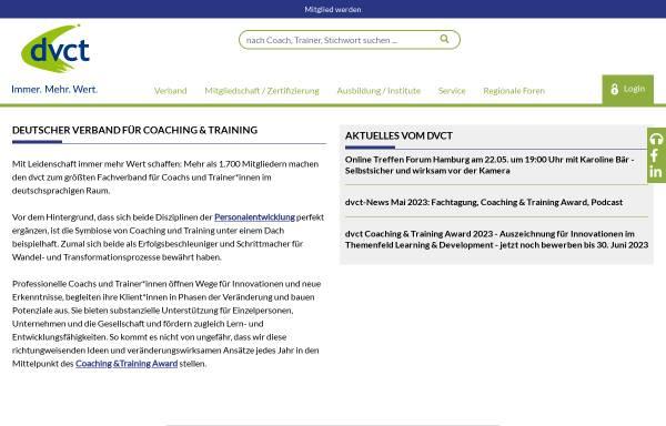 Vorschau von www.dvct.de, Deutscher Verband für Coaching und Training e.V.