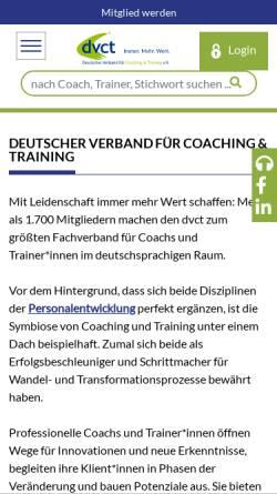 Vorschau der mobilen Webseite www.dvct.de, Deutscher Verband für Coaching und Training e.V.