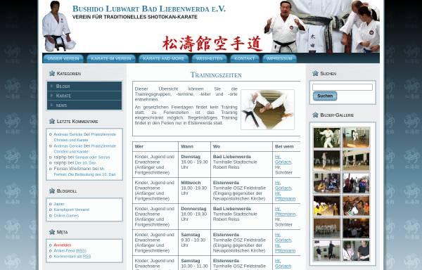 Vorschau von www.bushido-lubwart.de, Bushido Lubwart Bad Liebenwerda e.V.