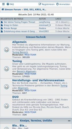 Vorschau der mobilen Webseite www.simson-portal.de, Simson-Portal.de