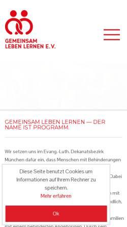 Vorschau der mobilen Webseite www.gll-muenchen.de, Gemeinsam leben lernen e.V.