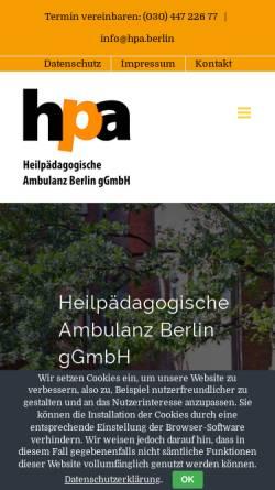 Vorschau der mobilen Webseite hpa.berlin, Heilpädagogische Ambulanz Berlin gGmbH (HpA Berlin)