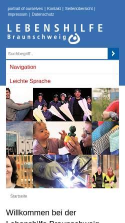 Vorschau der mobilen Webseite www.lebenshilfe-braunschweig.de, Lebenshilfe Braunschweig