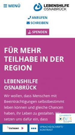 Vorschau der mobilen Webseite www.lebenshilfe-osnabrueck.de, Lebenshilfe für geistig Behinderte in Osnabrück