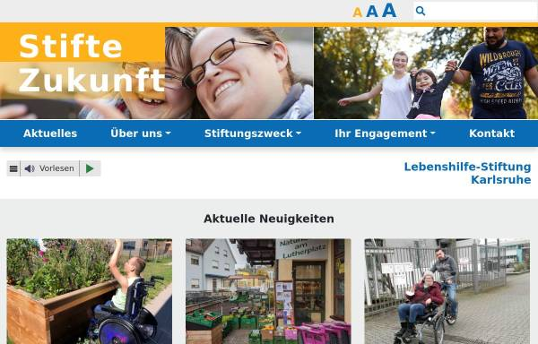 Vorschau von www.stifte-zukunft.de, Lebenshilfe- Stiftung Karlsruhe