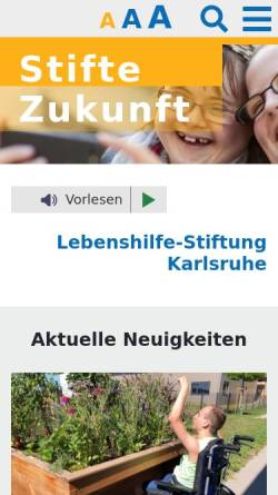 Vorschau der mobilen Webseite www.stifte-zukunft.de, Lebenshilfe- Stiftung Karlsruhe