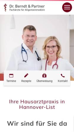 Vorschau der mobilen Webseite www.praxis-dr-berndt.de, Hausärztliche Praxis Dr. Berndt & Partner