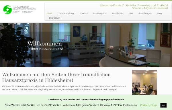 Vorschau von www.hausarzt-hildesheim.de, Maleika, Christian und Werhand, Dr. med. Anja - Hausarzt Hildesheim