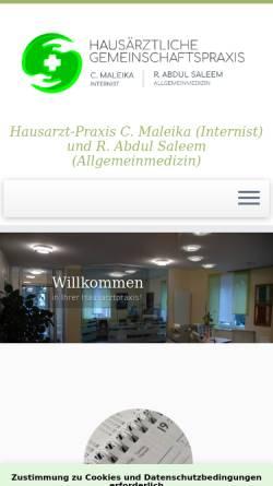 Vorschau der mobilen Webseite www.hausarzt-hildesheim.de, Maleika, Christian und Werhand, Dr. med. Anja - Hausarzt Hildesheim