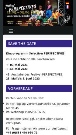Vorschau der mobilen Webseite www.festival-perspectives.de, Perspectives Deutsch-Französisches Festival der Bühnenkunst
