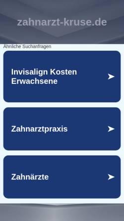 Vorschau der mobilen Webseite www.zahnarzt-kruse.de, Christina Kruse, Zahnarztpraxis