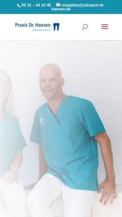 Vorschau der mobilen Webseite www.zahnarzt-dr-hansen.de, Dr. med. dent. Marc Hansen, Zahnarzt und Fachzahnarzt für Oralchirurgie