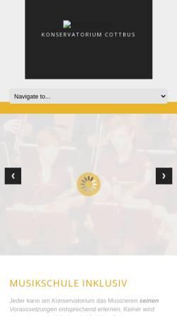 Vorschau der mobilen Webseite www.konservatorium-cottbus.de, Konservatorium Cottbus