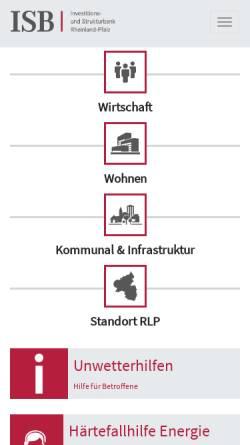 Vorschau der mobilen Webseite www.isb.rlp.de, ISB Investitions- und Strukturbank Rheinland-Pfalz GmbH