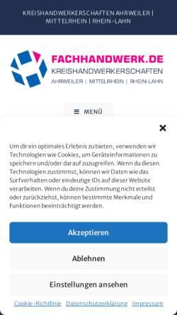 Vorschau der mobilen Webseite www.fachhandwerk.de, Kreishandwerkerschaften Ahrweiler-Mittelrhein-Rhein-Lahn