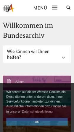 Vorschau der mobilen Webseite www.bundesarchiv.de, Bundesarchiv Online