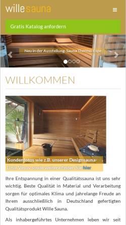 Vorschau der mobilen Webseite www.wille-sauna.de, Wille Sauna GmbH