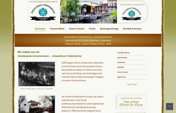 Vorschau von www.schwerdtners-kahnfahrten.de, Schwerdtner's Kahnfahrten