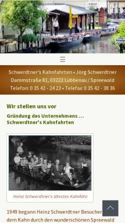 Vorschau der mobilen Webseite www.schwerdtners-kahnfahrten.de, Schwerdtner's Kahnfahrten
