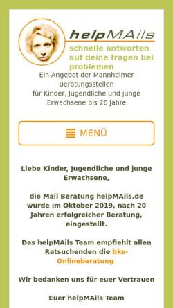 Vorschau der mobilen Webseite helpmails.majo.de, HelpMails